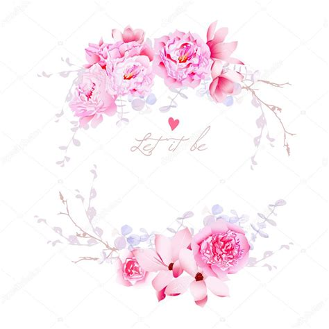 spring magnolia and peonies vector frame gentle flowers