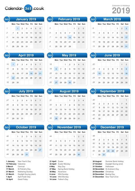 Calendar 2019 With Holidays Uk Calendar 2019