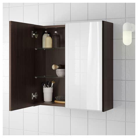 ikea lillangen mirror cabinet   doors black brown