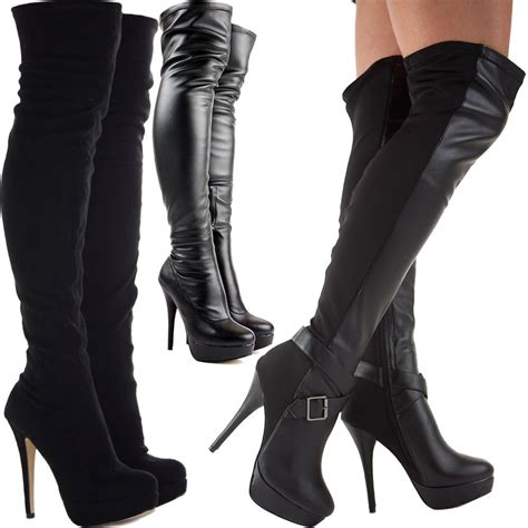 high heel boot shoes womens black knee thigh high heel stretch