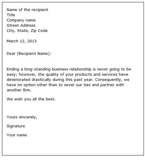 sample letter terminating business contract