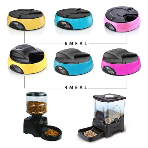Programmable Water Feeder 4 6 large programmable timer automatic pet cat food feeder water tray bowls