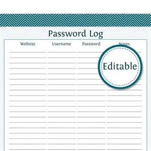 password journal template 8 best images of editable password organizer printable