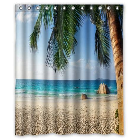 tropical shower curtains tropical beach custom shower curtain bathroom decor free