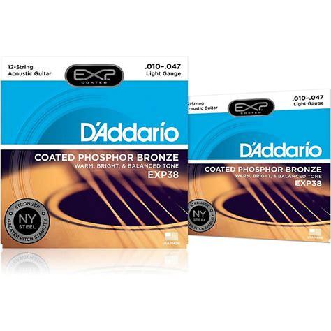 D Addario Exp38 12 String Coated Phosphor Bronze Light D Addario Light Acoustic Guitar Strings