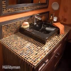 installing bathroom vanity top how to install a glass tile vanity top the family handyman