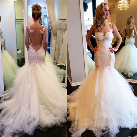 mermaid trumpet straps wedding dress bridal gown