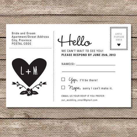 wedding invitation wording rsvp email wedding rsvp postcard printable pdf garden whimsy