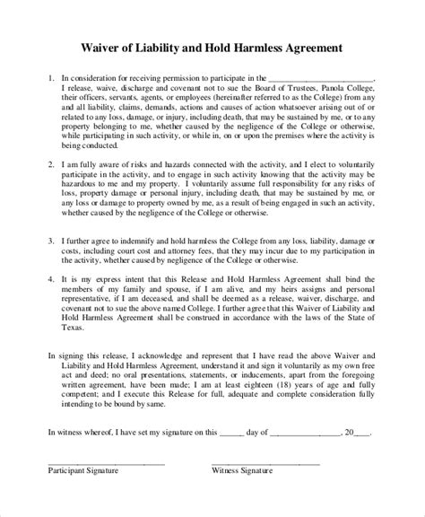 waiver of liability and hold harmless agreement template sle hold harmless agreement 9 exles in pdf word