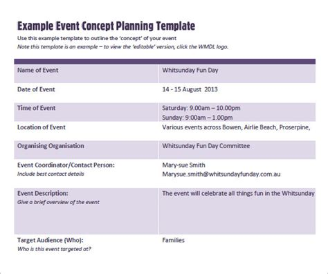 Event Concept Template event planning template 9 free sles exles format