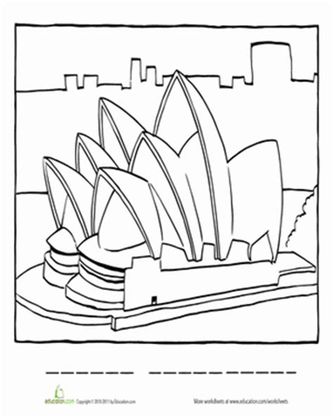coloring page of sydney opera house geography coloring pages bestofcoloring com