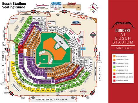 busch stadium section map detailed seating chart busch stadium busch stadium seat