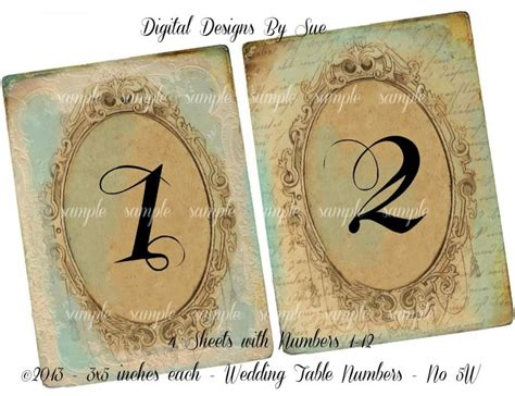 free printable vintage numbers instant download vintage wedding table number cards no