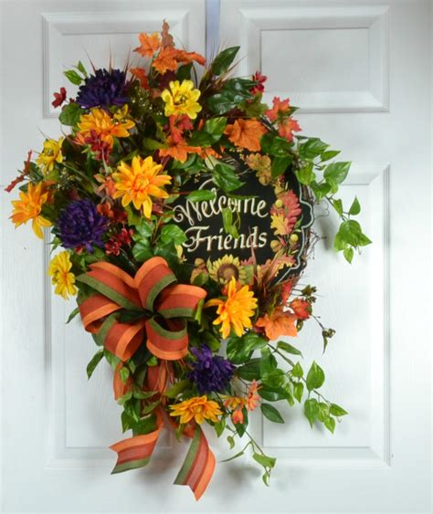 Welcome Wreaths Front Door Fall Welcome Wreath For Door Front Door Wreath Fall