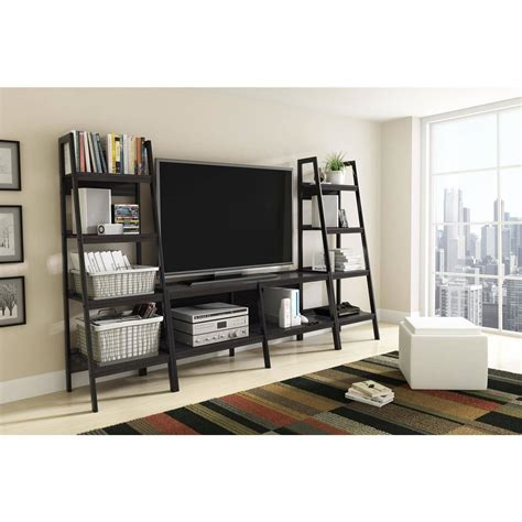 Wall Units: inspiring entertainment centers with bookshelves White Entertainment Center With