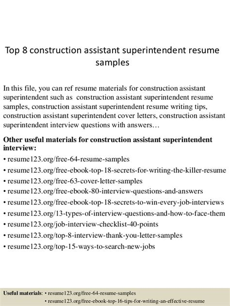 assistant construction superintendent resume sle top 8 construction assistant superintendent resume sles