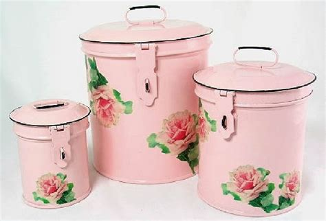 Pink Kitchen Canisters | pink canister set kitchen storage canisters decorative roses containers canister sets