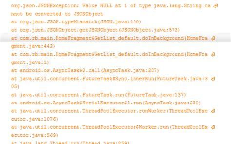 invalid layout of java lang string at value json value null at 1 of type java lang string cannot be