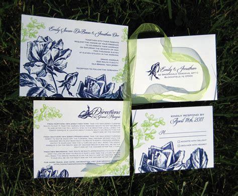 navy blue and green wedding invitations navy blue green floral invitations invitation crush