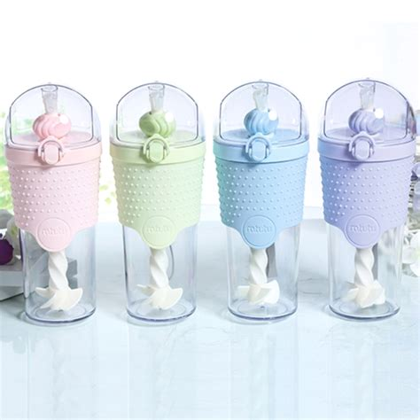 Water Bottle With Straw Animal Mixer outdoor portable colors drink water bottle cover straw plastic shaker bottle milkshake coffee
