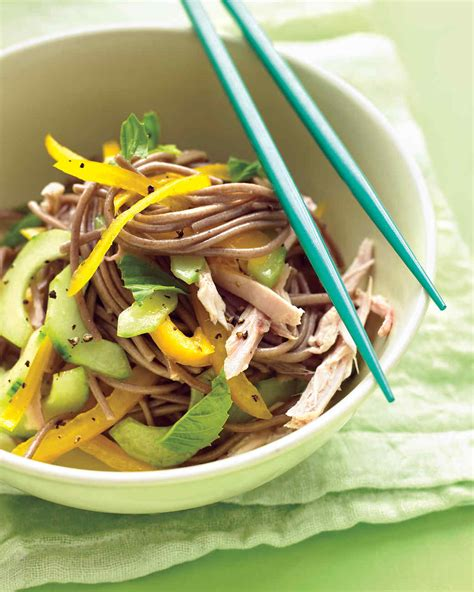 cold noodle salad recipes cold soba noodle salad with chicken peppers and cucumber
