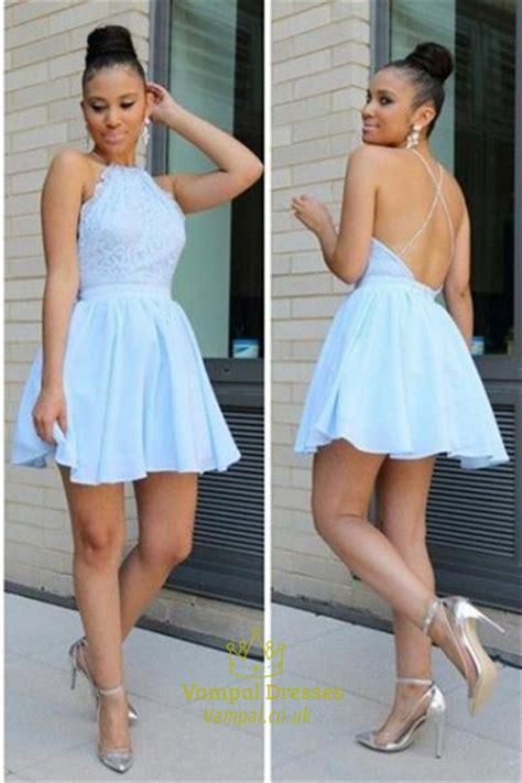 Dress Sepandress Bodycondress Formaldress Wanita light blue halter neck lace bodice chiffon skirt skater cocktail dress val dresses
