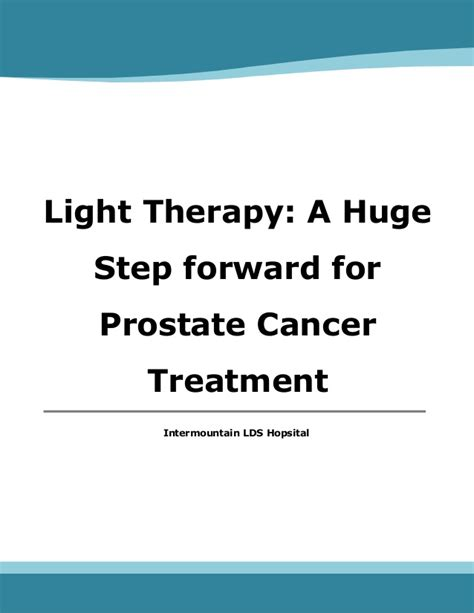 light treatment for cancer light therapy a huge step forward for prostate cancer