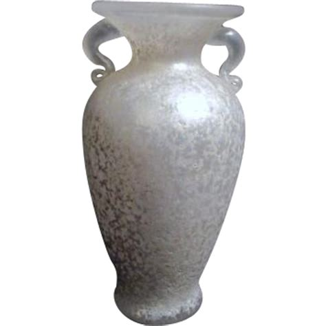 Frosted Glass Vase by White Frosted Glass Handled Vase From