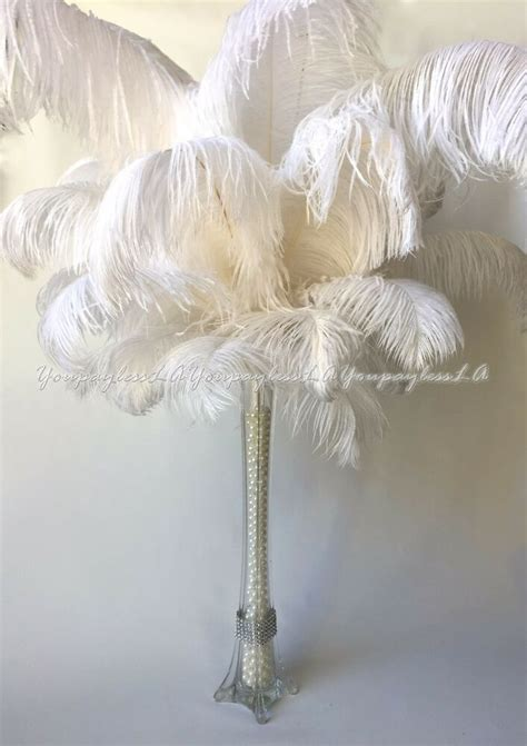 ostrich feather table centerpieces 10pc white ostrich feathers used for wedding prom eiffel tower vase centerpiece ebay