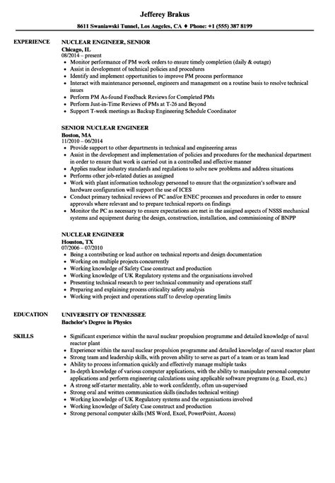 cover letter nuclear engineer nuclear engineer sle resume civil construction engineer