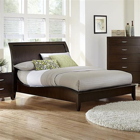 Modern Sleigh Bed Tribecca Home Lancashire Cherry Finish Curved Sleigh Bed Contemporary Bedroom Furniture Sets