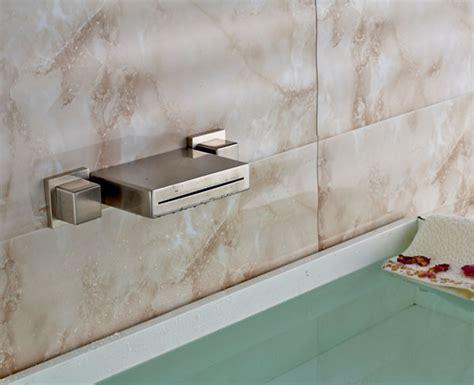 bathroom single handle wall mount vessel brass waterfall dual handle brushed finish wall mount waterfall brass