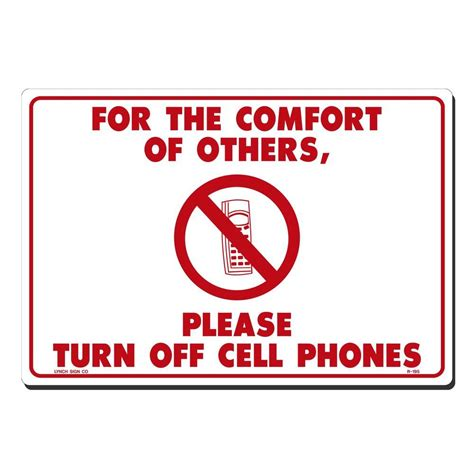 8 Places To Turn Your Cell Phone by Lynch Sign 14 In X 10 In On White Plastic