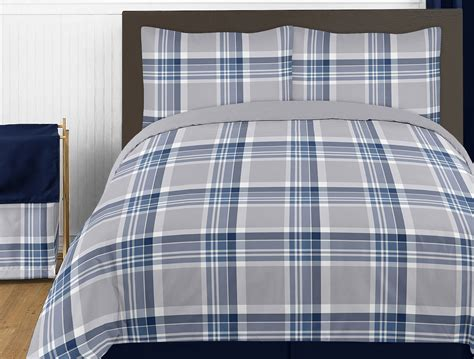 plaid twin bedding sweet jojo designs navy blue and gray plaid 4pc twin