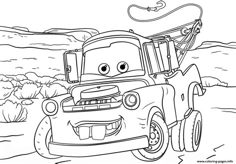 disney cars coloring pages pdf tow mater from cars 3 disney coloring pages printable