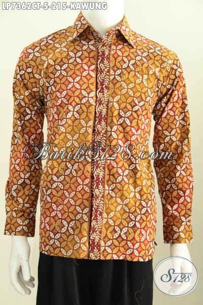 Kemeja Batik Kawung Grompol Printing Lengan Panjang baju kemeja batik motif kawung hem batik kerja