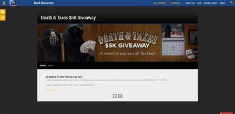 Id Investigation Discovery Giveaway - investigation discovery death and taxes 5k giveaway investigationdiscovery com