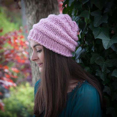 loom knit beanie loom knit hat pattern slouch hat beanie textured bulky