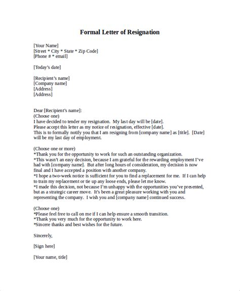 Official Letter Of Resignation Email Sle Letter Of Resignation 9 Exles In Pdf Word