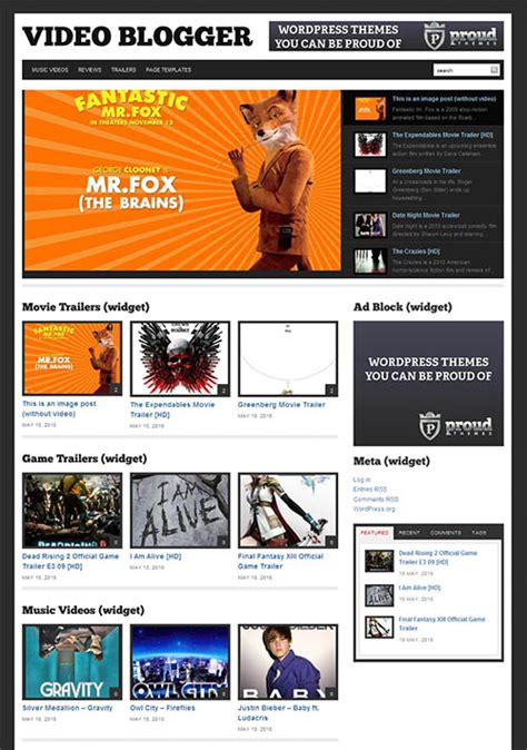 blogger themes with menu video blogger premium wordpress theme