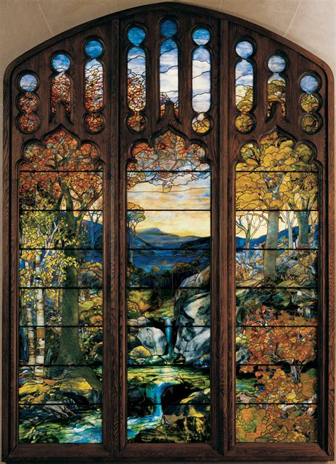 louise comfort tiffany louis comfort tiffany autumn landscape the river of life