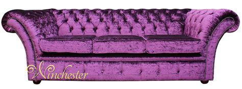 Chesterfield Grosvenor Purple 3 Seater Sofa Settee Purple Velvet Chesterfield Sofa