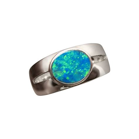 blue green opal opal silver ring blue green oval gem silver opal rings