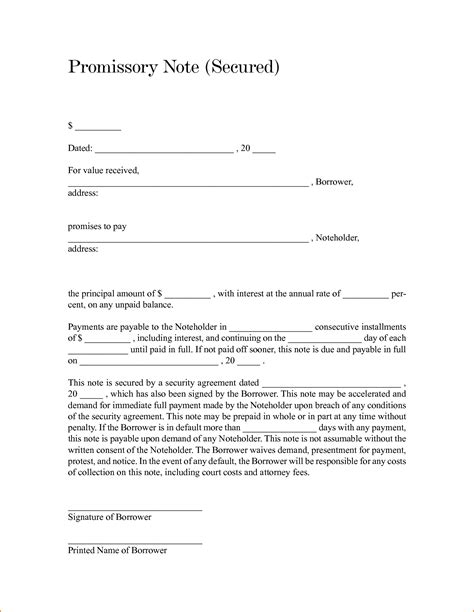 auto promissory note template 4 secured promissory note template teknoswitch