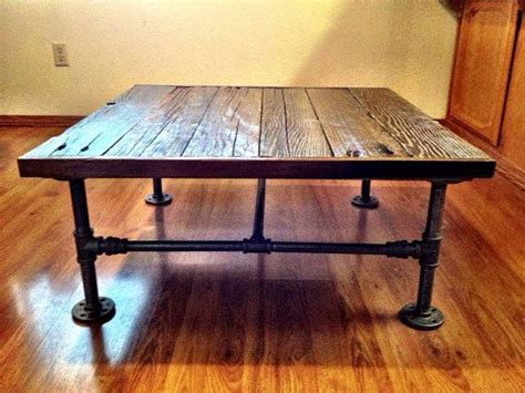 Industrial Square Coffee Table Industrial Square Coffee Table With Reclaimed Wood And Black Pipe