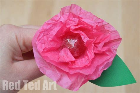 Tissue Paper Flower Crafts - tissue paper flower lollipops ted s