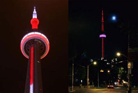 toronto's cn tower gets lit up with leds