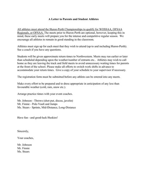 Recommendation Letter For College Athlete sle letter of recommendation for a student athlete