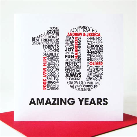 10th Wedding Anniversary Card Husband by Personalised Anniversary Card By Mrs L Cards