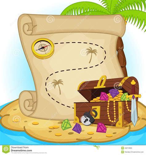 testo treasure treasure map and treasure chest on island stock vector